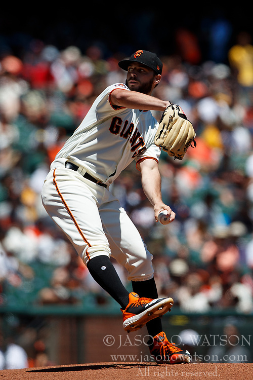 SAN FRANCISCO, CA - JULY 15: Andrew Suarez #59 of the San Francisco Giants pitches against the Oakland Athletics during the first inning at AT&T Park on July 15, 2018 in San Francisco, California.  (Photo by Jason O. Watson/Getty Images) *** Local Caption *** Andrew Suarez