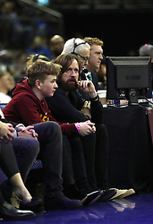 Bradley Wiggins and son Ben Wiggins during the NBA London Game 2018 at the O2 Arena, London.