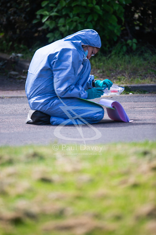 A forensic investigator records evidence at the scene at the intersection of Cole Crescent and Scott Crescent in Harrow where a 17-year-old was stabbed on the night of Sunday 10th June, leaving him in critical condition. June 11 2018.