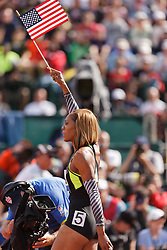 Sanya Richards-Ross, Women's 400 meters, champion, Olympian, waves American flag after winning