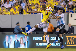 September 11, 2018 - East Rutherford, NJ, U.S. - EAST RUTHERFORD, NJ - SEPTEMBER 11: Colombia midfielder Wilmar Barrios (5) heads the ball during the first half of the International Friendly Soccer match between Argentina and Colombia on September 11, 2018 at MetLife Stadium in East Rutherford, NJ. (Photo by John Jones/Icon Sportswire) (Credit Image: © John Jones/Icon SMI via ZUMA Press)