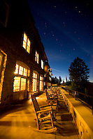 Twilight image of the lodge at Crater Lake National Park, OR.