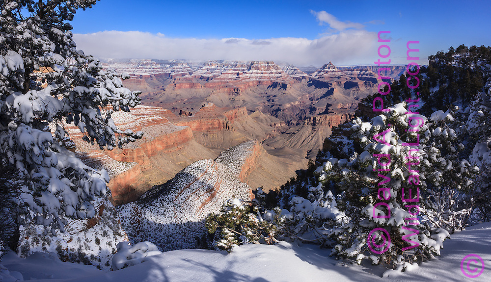 Grand Canyon with fresh snow  on the north and south rims, high mesas and formations, Grand Canyon National Park, © David A. Ponton