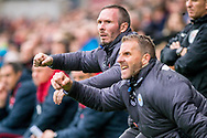 caretaker Manager of Leicester City,Michael Appleton (l) celebrates and reacts to Leicester's second Goal. Premier league match, Swansea city v Leicester city at the Liberty Stadium in Swansea, South Wales on Saturday 21st October 2017.<br /> pic by Aled Llywelyn, Andrew Orchard sports photography.