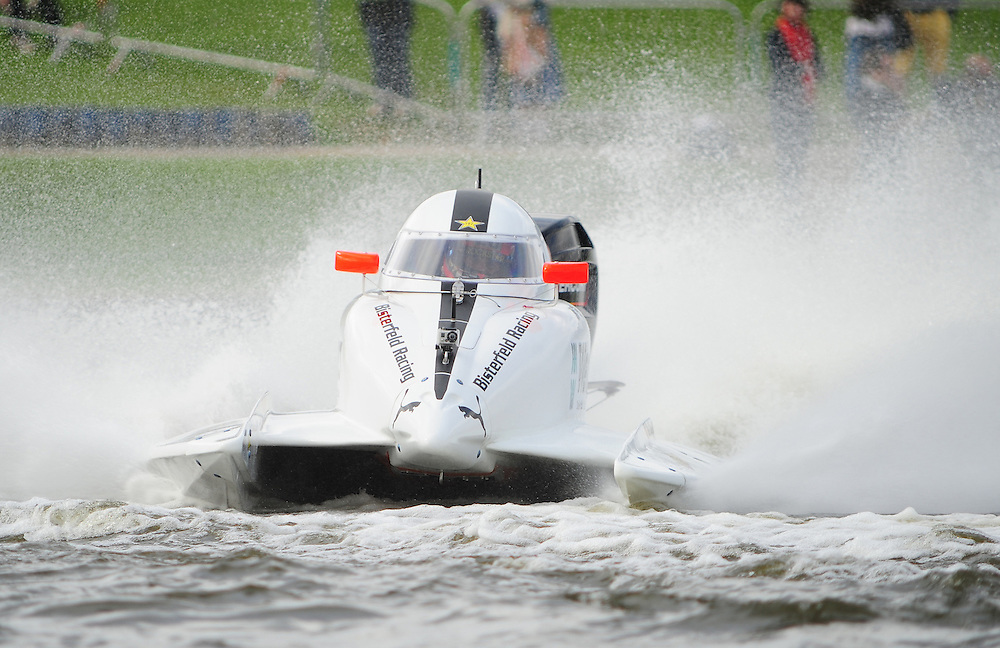 Nick Bisterfeld GER Bisterfeld Racing - DAC - Alizel, Rockstar, Wera, Kauger in action during the F2 World Powerboat Championship race  ..Powerboat Racing - The UIM F2 World Powerboat Championship of Great Britain - National Watersports Centre, Holme Pierrepont, Nottingham. Sunday 16th September 2012....