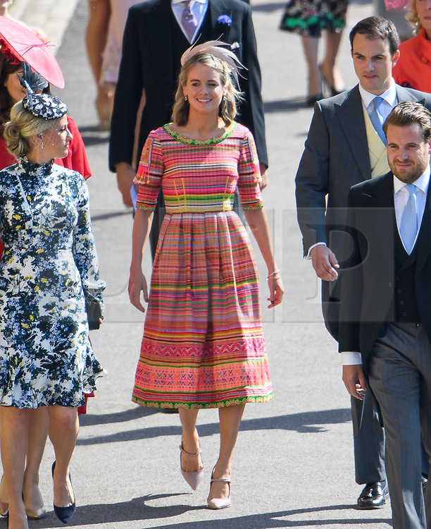 © Licensed to London News Pictures. 19/05/2018. London, UK. CRESSIDA BONAS (centre), former girlfriend oaf Prince Harry. Guests arrive at The wedding of Prince Harry, The Duke of Sussex to Meghan Markle, The Duchess of Sussex, at St George's Chapel in Windsor. Photo credit: Ben Cawthra/LNP