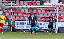 Dunfermline's Kevin Nisbet scoring theirthird goal. half time : Dunfermline 4 v 0 Partick Thistle, Scottish Championship game played 30/11/2019 at Dunfermline's home ground, East End Park.