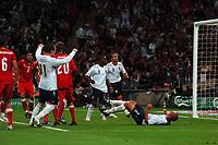 Photo: Tony Oudot/Richard Lane Photography.  England v Czech Republic. International match. 20/08/2008. <br /> Wes Brown celebrates with Wayne Rooney after scoring Englands first goal