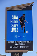 Banc of California Stadium Marquee displaying LAFC along the Interstate 110 freeway in the wake of the coronavirus COVID-19 pandemic, Wednesday, May 20, 2020. in Los Angeles, Calif. (Jevone Moore/Image of Sport)