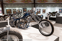 One of Billy Lane's favorite bikes, Blue, a custom Shovelhead chopper he built on one of his Choppers Inc 45-degree rigid frames in 2000, on display in the Heavy Mettle - Motorcycles and Art with Moxie exhibition at the Sturgis Buffalo Chip. This is the 2020 iteration of the annual Motorcycles as Art series curated and produced by Michael Lichter. Sturgis, SD, USA. Friday, August 7, 2020. Photography ©2020 Michael Lichter.