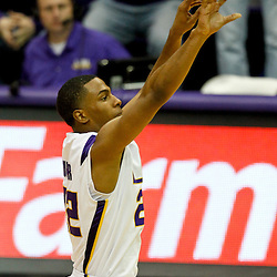 January 2, 2012; Baton Rouge, LA; LSU Tigers guard Ralston Turner (22) shoots a three pointer in an attempt to tie the game in the final seconds against the Virginia Cavaliers at the Pete Maravich Assembly Center. Virginia defeated LSU 57-52.  Mandatory Credit: Derick E. Hingle-US PRESSWIRE
