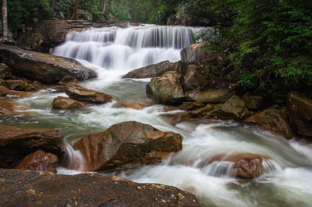 Waterfalls on Decker's Creek, a small mountain stream flows over large boulders under a canopy of rhododendron.
