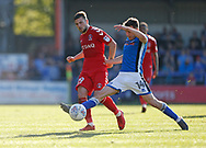 Ollie Rathbone of Rochdale and Jake Forster-Caskey of Charlton Athletic  during the EFL Sky Bet League 1 match between Rochdale and Charlton Athletic at Spotland, Rochdale, England on 5 May 2018. Picture by Paul Thompson.