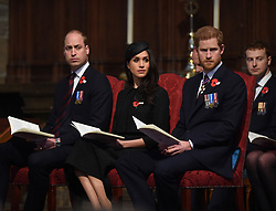 The Duke of Cambridge, Prince Harry and Meghan Markle attend an Anzac Day Service of Commemoration and Thanksgiving at Westminster Abbey, London, UK, on the 25th April 2018. Picture by Eddie Mulholland/WPA-Pool. 25 Apr 2018 Pictured: Prince William, Duke of Cambridge, Meghan Markle, Prince Harry. Photo credit: MEGA TheMegaAgency.com +1 888 505 6342