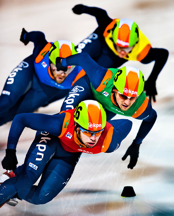 The Netherlands, Amsterdam, 04-01-2015.<br /> Skating, Short Track, Men, Dutch National Championships, 1000 metres, Final.<br /> Sjinkie Knegt, in front, takes the lead in the final of the 1000 metres and wins the Dutch National Championships with force majeure.<br /> Photo : Klaas Jan van der Weij