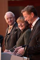 12 NOV 2003, BERLIN/GERMANY:<br /> Edmund Stoiber (L), CSU, Ministerpraesidnet Bayern, Angela Merkel (M), CDU Bundesvorsitzende, und Guido Westerwelle (R), FDP Bundesvorsitzender, waehrend einer Pressekonferenz zu dem vorangegangenen  Spitzentrfffen von Politiker der CDU/CSU und der FDP, axica Kongress- und Tagungszentrum<br /> IMAGE: 20031112-01-023<br /> KEYWORDS: Opposition, Spitzengespraech, lacht, lachen, freundlich