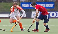AERDENHOUT - 09-04-2012 - Hajo Meijer  , maandag tijdens de finale tussen Nederland Jongens A en Engeland Jongens A  (3-3) , tijdens het Volvo 4-Nations Tournament op de velden van Rood-Wit in Aerdenhout. Engeland wint met shoot-outs. FOTO KOEN SUYK