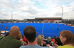 General view of spectators watching the hockey during the Men's World Hockey League match at Lee Valley Hockey Centre, London.