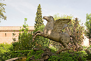 Italy, Lazio, Tivoli, Villa d'Este statue of Pegasus