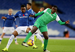 Everton's Ademola Lookman and Gor Mahia's Ernest Wendo battle for the ball during the SportPesa Trophy match at Goodison Park, Liverpool.