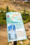 Trail sign at Mount Edith Cavell, Jasper National Park, Alberta Canada