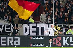 11.10.2011, Esprit Arena, Duesseldorf, GER, UEFA EURO 2012 Qualifikation, Deutschland (GER) vs Belgien (BEL), im Bild Jubel Andre Schürrle / Schuerrle (#9 GER, Bayer Leverkusen) nach dem 2 - 0 // during the UEFA Euro 2012 qualifying round Germany vs Belgium  at Esprit Arena, Duesseldorf 2011-10-11 EXPA Pictures © 2011, PhotoCredit: EXPA/ nph/  Kurth       ****** out of GER / CRO  / BEL ******