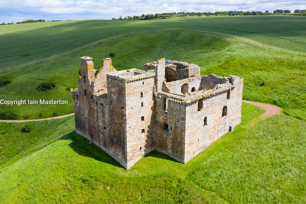 Elevated view of Crichton Castle in Midlothian, Scotland, UK