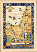 "The picture map of the Holy Land Published by R.R. Bowker Company in 1928 Color pictorial map framed by decorative border. Shows historical boundaries, roads, railway, places named in the New Testament. Also shows Israel's route to promised Land in Egypt to the River Jordan, routes used by all who traveled between Egypt and Palestine, ancient caravan route, Cairo to Mecca. Includes key locations from the biblical narrative, views of sailing ships on ""The Great Sea (Mediterranean). Relief shown pictorially."