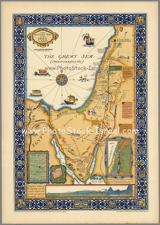 """The picture map of the Holy Land Published by R.R. Bowker Company in 1928 Color pictorial map framed by decorative border. Shows historical boundaries, roads, railway, places named in the New Testament. Also shows Israel's route to promised Land in Egypt to the River Jordan, routes used by all who traveled between Egypt and Palestine, ancient caravan route, Cairo to Mecca. Includes key locations from the biblical narrative, views of sailing ships on """"The Great Sea (Mediterranean). Relief shown pictorially."""