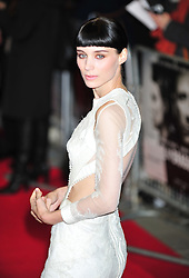 © Licensed to London News Pictures. 12/12/2011. London, England.Rooney Mara attends the world premiere of The Girl With The Dragon Tattoothe first film in the three-picture adaptation of Stieg Larsson's literary blockbuster The Millennium Trilogy.  Directed by David Fincher and starring Daniel Craig and Rooney Mara  in Liecester Square London .  Photo credit : ALAN ROXBOROUGH/LNP