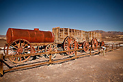 Original twenty mule team wagon used to carry borax out of the mines on display at Death Valley National Park, California, USA.