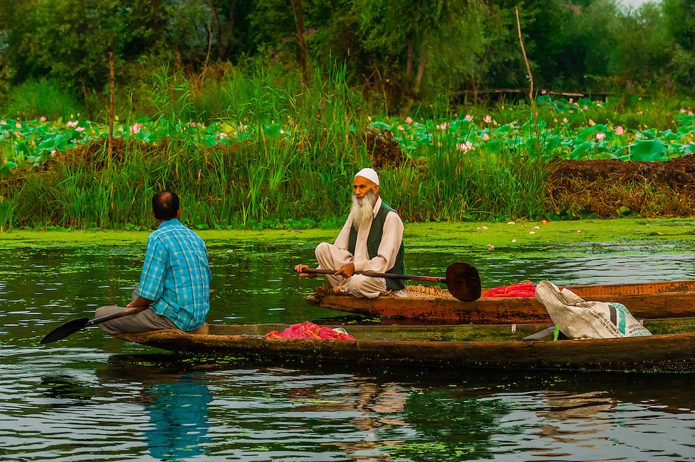 The early morning floating market on Dal Lake in Srinagar, Kashmir, Jammu and Kashmir State, India.