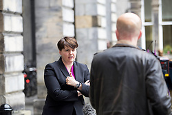 "Scottish Conservative Party leader Ruth Davidson gives a thumbs up outside Edinburgh City Chambers after declaring she was ""reasonably pleased"" with the results in the European Parliament Elections. pic copyright Terry Murden @edinburghelitemedia"