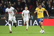 Juventus attacker Paulo Dybala (10) dribbling and taking on Davinson Sanchez of Tottenham Hotspur (6) during the Champions League match between Tottenham Hotspur and Juventus FC at Wembley Stadium, London, England on 7 March 2018. Picture by Matthew Redman.