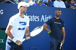 Novak Djokovic (SRB) and his coach Goran Ivanisevic (CRO) during his practice at the 2019 US Open at Billie Jean National Tennis Center in New York City, NY, USA, on August 24, 2019. Photo by Corinne Dubreuil/ABACAPRESS.COM