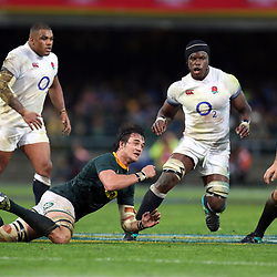 Franco Mostert of South Africa with a dive pass during the 2018 Castle Lager Incoming Series 3rd Test match between South Africa and England at Newlands Rugby Stadium,Cape Town,South Africa. 23,06,2018 Photo by (Steve Haag JMP)
