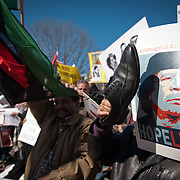 Libyan protesters outside the White House on February 19, 2011 demand the ousting of Moammar Gaddafi