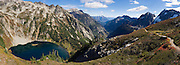 """Doubtful Lake and the Stehekin Valley, as seen from Sahale Arm, in North Cascades National Park, Washington, USA. Panorama stitched from nine images. Published in """"Light Travel: Photography on the Go"""" book by Tom Dempsey 2009, 2010."""