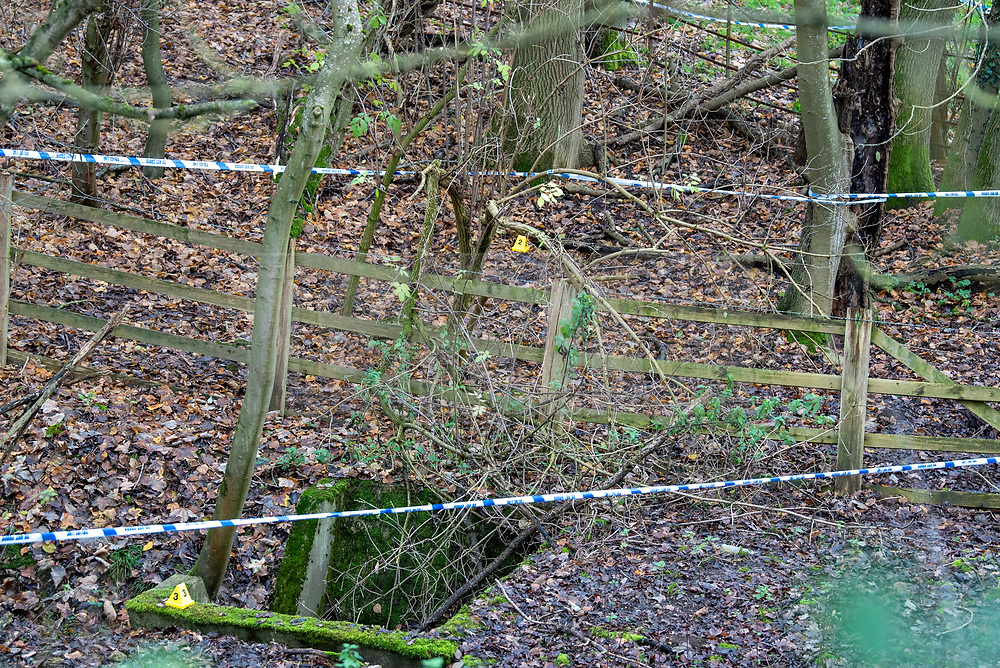 "© Licensed to London News Pictures. 07/12/2019. Gerrards Cross, UK. Evidence identification markers inside a cordon as London's Metropolitan Police Service searches woodland in Gerrards Cross, Buckinghamshire. Police have been in the area conducting operations since Thursday 5th December 2019 and are searching two areas on Hedgerley Lane. In a press statement a Metropolitan Police spokesperson said ""Officers are currently in the Gerrards Cross area of Buckinghamshire as part of an ongoing investigation.<br /> ""We are not prepared to discuss further for operational reasons.""<br /> Photo credit: Peter Manning/LNP"