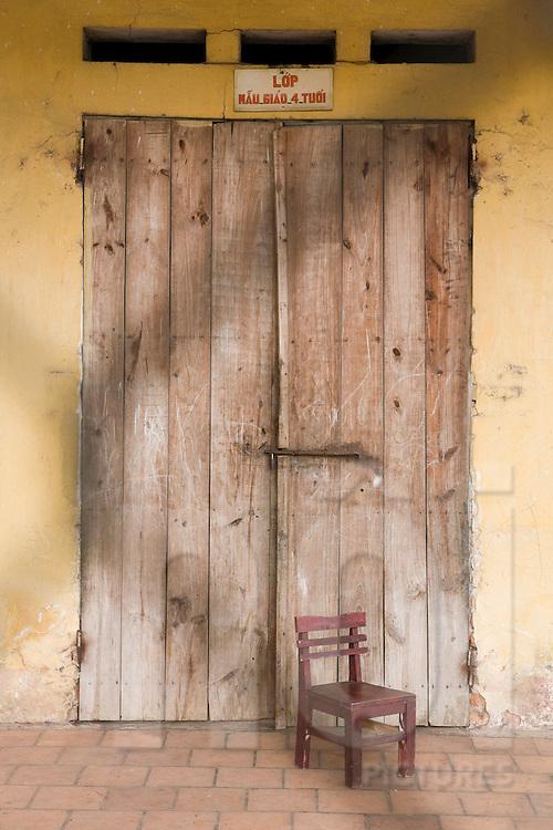 Weathered doorway, Xuan Lai, a craft village close to Hanoi, Vietnam, Southeast Asia