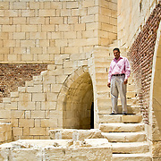 A staff member from Save the Children (UK)'s Egypt office explores the Fort of Qaitbey near Rashid with a view to promoting the area's tourist industry as a so-far neglected alternative means of livelihood for would-be illegal migrants to Italy.