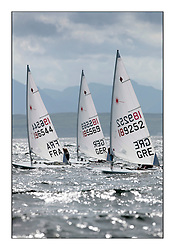 Nations heading upwind on the Clyde with Mathilde de Kerangat, FRA 196544, Paula Steiner, GER 185569, Anna Agrafioti, GRE 189252,.The Laser Radial World Championships are taking place at Largs, Scotland GBR. Practice Race, Training and Opening Parade..118 Women from 35 different nations compete in the Olympic Women's Laser Radial fleet and 104 Men from 30 different nations. .All three 2008 Women's Laser Radial Olympic Medallists are competing. .The Laser Radial World Championships take place every year. This is the first time they have been held in Scotland and are part of the initiaitve to bring key world class events to Britain in the lead up to the 2012 Olympic Games. .The Laser is the world's most popular singlehanded sailing dinghy and is sailed and raced worldwide. ..Further media information from .laserworlds@gmail.com.event press officer mobile +44 7775 671973  and +44 1475 675129 .