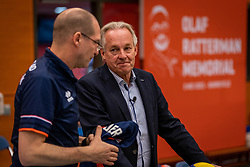 Joop Alberda and Coach Roberto Piazza of Netherlands during the Olaf Ratterman Memorial match between Netherlands vs. Eredivisie All Star team on May 03, 2021 in Barneveld.