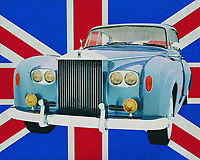 The 1963 Rolls Royce Silver Cloud in front of the Union Jack! It couldn't be more British. Everyone knows Rolls Royce as the most classy car brand in the world and associate it with Great Britain. If you want to give your interior, home, office, store or restaurant a British touch then do so with this painting.<br />