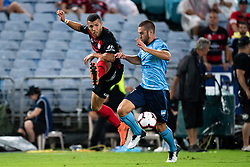 December 15, 2018 - Sydney, NSW, U.S. - SYDNEY, NSW - DECEMBER 15: Sydney FC midfielder Joshua Brillante (6) tries to get the ball from Western Sydney Wanderers midfielder Kostandinos Grozos (6) at the Hyundai A-League Round 8 soccer match between Western Sydney Wanderers FC and Sydney FC at ANZ Stadium in NSW, Australia on December 15, 2018. (Photo by Speed Media/Icon Sportswire) (Credit Image: © Speed Media/Icon SMI via ZUMA Press)