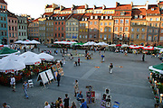 Warsaw Poland, Old Town Square area on a summer evening.