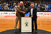 Former Giants player Dave Taylor (L) and sponsor Tony Bowater during the Sal's NBL Basketball game. Nelson Giants v Otago Nuggets. Trafalgar Centre, Nelson, New Zealand. Friday 18 June 2021. ©Copyright Photo: Chris Symes / www.photosport.nz