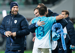 Bostjan Cesar of Slovenia, Bojan Jokic of Slovenia and Milivoje Novakovic of Slovenia celebrate after the football match between National teams of Slovenia and England in Round #3 of FIFA World Cup Russia 2018 Qualifier Group F, on October 11, 2016 in SRC Stozice, Ljubljana, Slovenia. Photo by Vid Ponikvar / Sportida