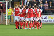 Goal Fleetwood celebrate Ashley Eastham goal during the EFL Sky Bet League 1 match between Fleetwood Town and Rochdale at the Highbury Stadium, Fleetwood, England on 14 October 2017. Photo by Daniel Youngs.