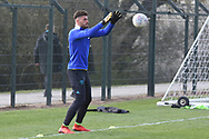 Leeds United goalkeeper Joshua Rae warms up during the U18 Professional Development League match between Coventry City and Leeds United at Alan Higgins Centre, Coventry, United Kingdom on 13 April 2019.